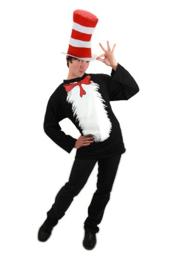 elope Adult Deluxe Cat In The Hat Costume, Red/White, Small/Medium (Cat Woman Costume Ideas)