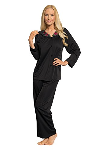 Shadowline Women's Plus-Size Petals Long Sleeve Pajama, Black, 44