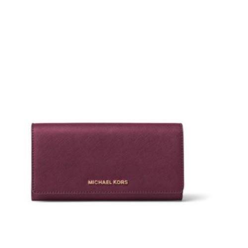 Michael Michael Kors Womens Jet Set Travel Large Leather Wallet, Purple by Michael Kors