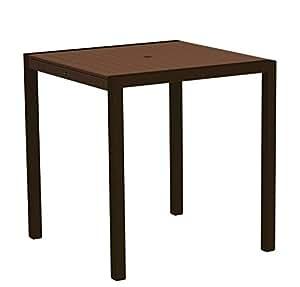 """37""""al aire libre reciclado energía contador mesa–madera de caoba con marco de bronce"""