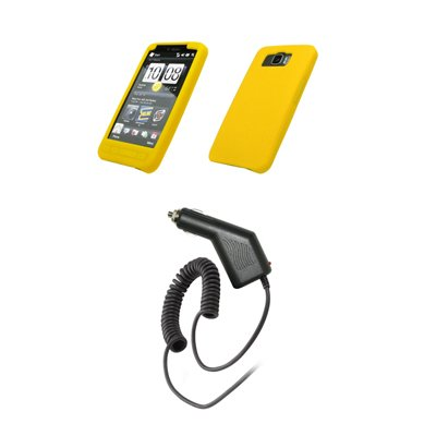 HTC HD2 - Yellow Soft Silicone Gel Skin Cover Case + Rapid Car Charger for HTC