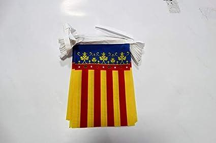 AZ FLAG Guirnalda 6 Metros 20 Banderas de la Comunidad Valenciana 21x15cm - Bandera Valenciana 15 x 21 cm - BANDERINES: Amazon.es: Jardín