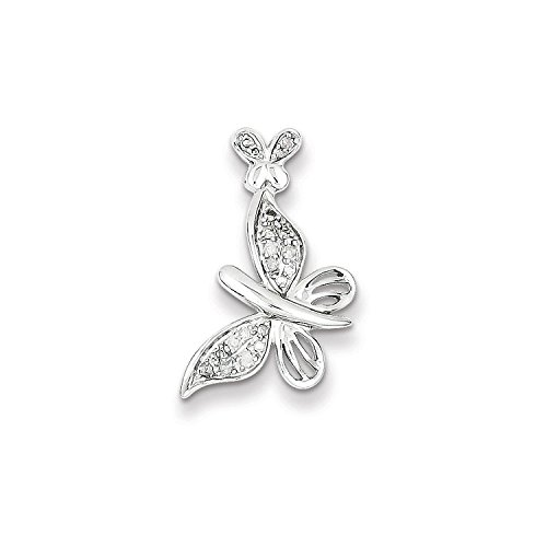 (Sterling Silver Rhodium Plated Diamond Butterfly Pendant Slide (Color H-I, Clarity SI2-I1))