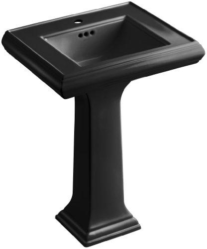 KOHLER K-2238-1-7 Memoirs Pedestal Bathroom Sink with Single-Hole Faucet Drilling and Classic Design, Black Black