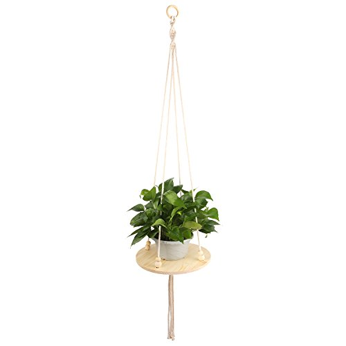 Hanging Planter – HUMUTU Macrame Plant Hanger for Indoor Plants, Macrame Wall Hanging with Wooden Stand Bohemian décor for Home and Balcony 45 (Wall Planter Stand)