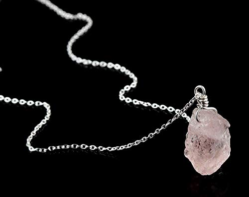 Natural Raw Morganite Crystal Pendant Necklace, Gift For Mom, Rough Morganite, Rough Morganite Rock, Silver Fill Chain, Natural Morganite Gemstone, Raw Gemstone Necklace, Dainty Jewelry