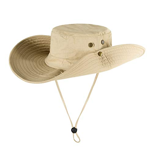 Men Beige Cowboy UPF 53+ Boonie Fishing Hat, Women Wide Brim Sun Protection Hiking Cap, Foldable Bucket Cycling Hat