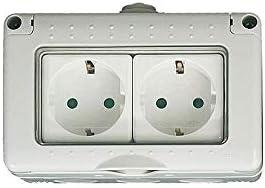 Caja estanca 4 modulos con 2 bases schuko IP 55: Amazon.es ...