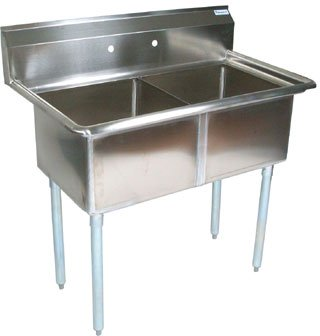 John Boos E Series Stainless Steel Sink, 14'' Deep Bowl, 2 Compartment, 53'' Length x 29-1/2'' Width