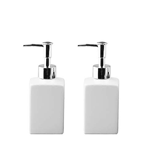 Fivtyily 2 PCS Durable Ceramic Liquid Hand Soap Dispenser Pump Bottle Stylish Hand Lotion Bottle for Kitchen Bathroom (White)