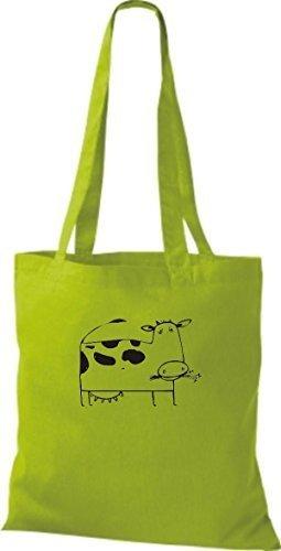 ShirtInStyle Bolsa de tela Bolsa de algodón Divertida Animales Muchacho De Vaca - verde lima, 38 cm x 42 cm verde lima