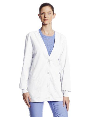 Cherokee Women's Workwear Scrubs Cardigan Warm-Up Jacket, White, X-Large Uniform Jacket