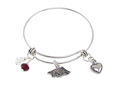 FTH Silver Tone Wire Bracelet with Arkansas Razorbacks Logo, Heart Charm, and Team Color Beads