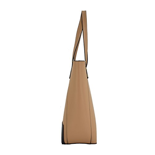 ESA Womens Tote Shoulder Handbags PU Leather Satchel Top handle Purse with Top Zip (Tan mix) by E.S.A. (Image #2)