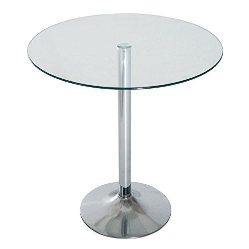 HOMCOM 28'' Round Glass Top Pub Bistro Bar Table (Clear) by HOMCOM