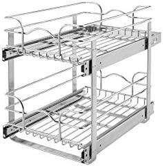 Rev A Shelf 5wb2 1222 Cr 12 In W X 22 In D Base Cabinet Pull Out Chrome 2 Tier Wire Basket
