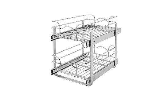 (Rev-A-Shelf 5WB2-0918-CR Base Cabinet Pullout 2 Tier Wire Basket Reduced Depth Sink & Base Accessories, 9 W x 18 D-Inches)