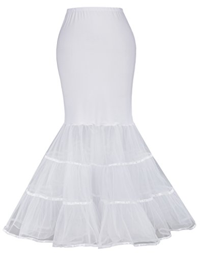 GRACE KARIN Fishtail Prom Dress Petticoat Hopeless for Wedding Dress (S,White 477)