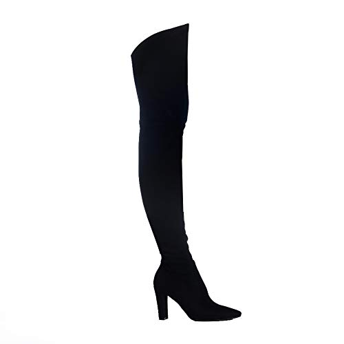 Shoe'N Tale Women Stretch Suede Chunky Heel Thigh High Over The Knee Boots (8.5 B(M) US, Black)