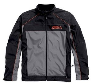 Harley Davidson Shell (Harley-Davidson Mens Recumbant Heated Soft Shell Jacket Black Gray 98556-15VM (Large))