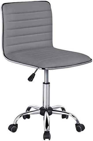 YAHEETECH Adjustable Low Back PU Leather Office Chair