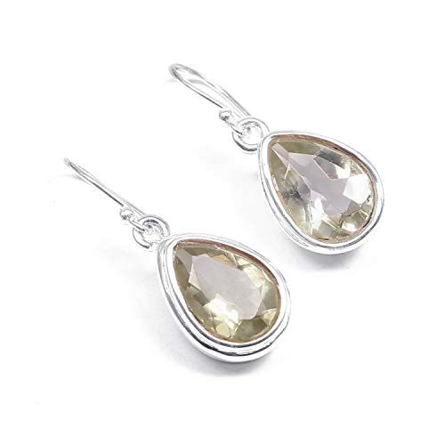 ❤️❤️ Natural Green Amethyst ️Dangle Drop Earrings ❤️❤️ | 925 Sterling Silver | Handcrafted Designer Stylish Charm Fashion Jewelry | Gift for Women, Ladies and Girls | Green Color | Pear Shape