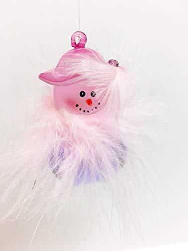 Jingle Buddies Pink Feather Christmas Snowman Purple Bell Ornament (Jingle Buddies Snowman)