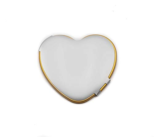 Ladies Pocket Mirror For Purse, Small Elegant Collectible Compact Mirrors - Perfect for Travel - 1x Trueview Vintage Handheld Makeup Mirror For All Your Personal Needs, Order Now! (Heart, Silver/Gold) ()