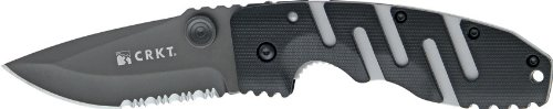 CRKT-Ryan-Model-7-Folding-Knife-35in-Serrated-Drop-Point-Black-Textured-Zytel-Handle-6813Z