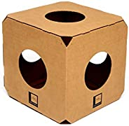 Gatomoderno Brinquedo para Gatos Labirinto 1 Cubo de Papelão Kraft, Casa para Gatos, Nicho para Gatos, Toca pa
