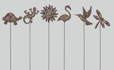 assorted small metal garden stakes set of 6 - Metal Garden Stakes