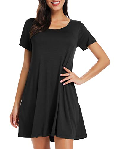 BELAROI Women's Short Sleeve Swing Dresses Summer Casual Pockets T Shirt Dress(2X,Black)