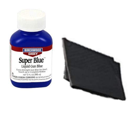 Westlake Market, Birchwood Casey Super Blue Liquid Gun Blue Plus 2 Disposable Absorent Pads for Gun Restoration Projects (Gun Blueing Solution)