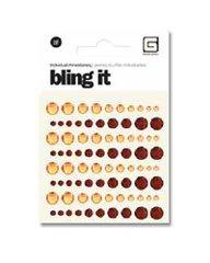 Bling It! Adhesive Rhinestones: Dot Tangerine/Ruby (Grey Bling Basic)