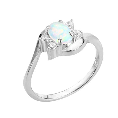 CloseoutWarehouse Oval White Simulated Opal Swirl Tension Ring Sterling Silver Size 6 3 Stone Tension Set Ring