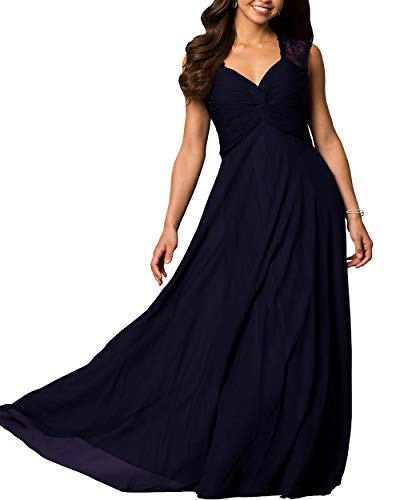 Roiii Women's V-Neck Chiffon Lace Formal Casual Party Wedding Evening Prom Gown Dress Cleb Cocktail Plus Size Maxi Dress