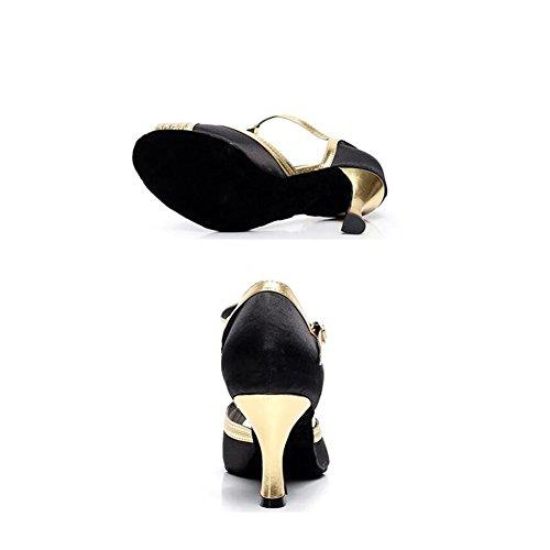 de UN Baile Oro Baile Zapatos de para 39 de XUE de para Fiesta de el Size y Tacón y Noche Satén Cuero Zapatos Latinos Zapatos Mujer Salón de Zapatos Baile Color O77HqfxF