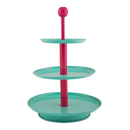 ELAN Three Tier Cake Stand – KNOB-Aqua Plate, Pink Access Price & Reviews