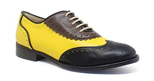 de Negro Piel Oxford tacón de bajo Amarillo Simone Zapatos wgCqHUg