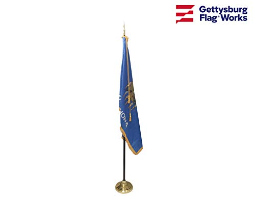 3x5' Oklahoma Flag Set, Includes Indoor Flag, Base, Pole, Spear Finial and Decorative Cord and Tassel (Spears Finials)