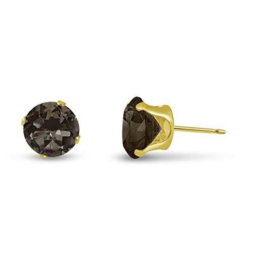 Round 4mm 14k Yellow Gold Genuine Smokey Quartz 0.4 cttw Stud Earrings, June Birthstone ()