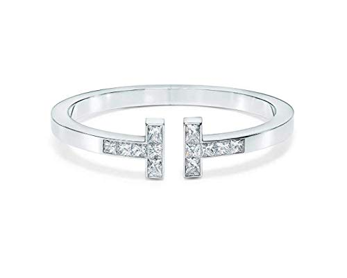 - Tiffany Style T Square Bracelet Princess Cut Natural Diamond 18k Solid White Gold Women Engagement Wedding Bridal Love Party Anniversary Jewelry All Wrist Size Available