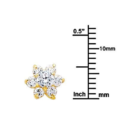 Wellingsale 14K Yellow Gold Polished Flower Birth CZ Cubic Zirconia Stone Stud Earrings With Screw Back April