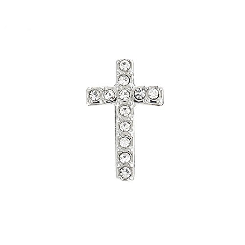 TK Lockets ~ SILVER CROSS SLIDER WITH CRYSTALS