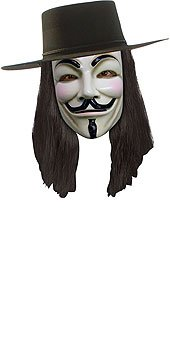 V For Vendetta Official Deluxe Hat, Mask, Wig Combo-Officially Licensed