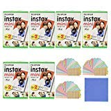 Fujifilm Instax Mini Instant Film, 2x10 Shoots x6 Pack (Total 120 Shoots) + withC Microfiber Cleaning Cloth+ Free 60PCS Sticker for Fuji Mini 90 8 70 7s 50s 25 300 -