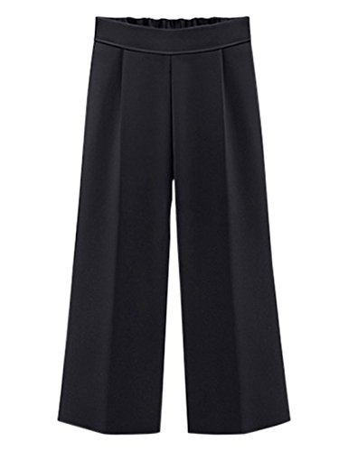 Tanming Women's High Elastic Waist Ankle Length Cropped Wide Leg Pants Mutiple Colors