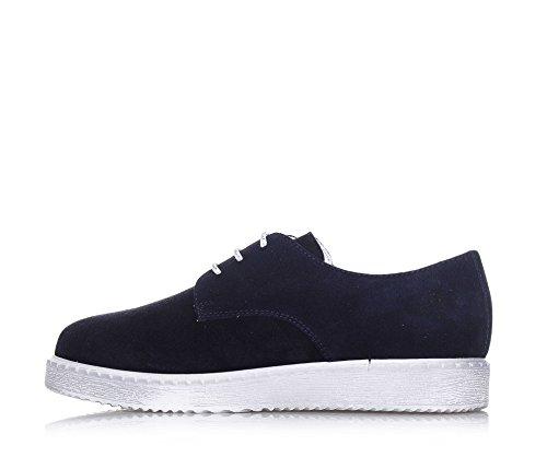 FLORENS - Blauer Schuh mit Schnürsenkeln aus Wildleder, made in Italy, ideal für festliche Anlässe, sichtbare Nähte, Jungen-34