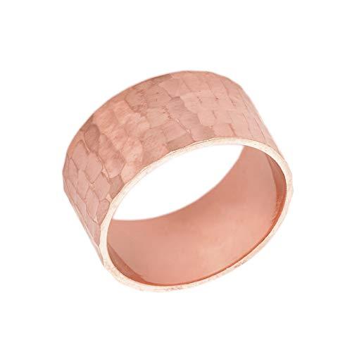 Men's Fine 10mm Hammered Wedding Band in Solid 10k Rose Gold (Size 8.75)