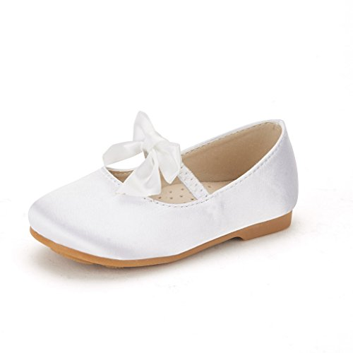 (DREAM PAIRS SOPHIA-22 Adorables Mary Jane Front Bow Elastic Strap Ballerina Flat Toddler New White Size)